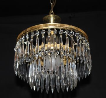 VINTAGE FRENCH  2 TIER  WATERFALL CIRCULAR CEILING LIGHT  Ref: AMY6